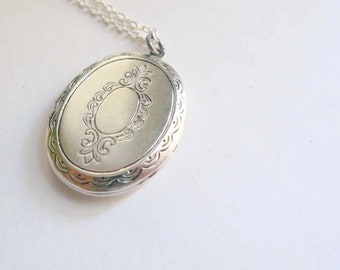 Victorian locket necklace Pretty silver locket Engraved locket Stamped brass Victorian style locket Large locket Sterling silver chain