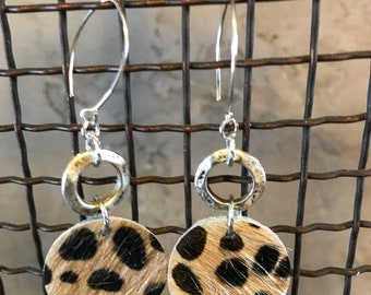 Cheetah Spotted Hide on Hair Leather Earrings