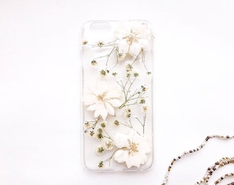White flowers iPhone 7 case Pressed flower phone case iPhone 8 Winter phone case Wedding phone case Bride case Wedding gift for mom