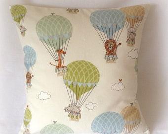 """Handmade Blue & Green Hot Air Balloon Nursery Cushion Cover Pillow 16""""  Cotton"""