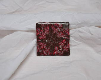 Floral polymer clay, brown background, red flowers brooch