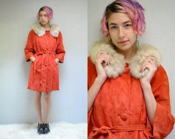 Trench Coat 60s COAT SUEDE Coat FOX Fur Collar Swing Coat Midi Coat Belted Coat Vintage Coat Mod Coat Womens Coat Suede Jacket