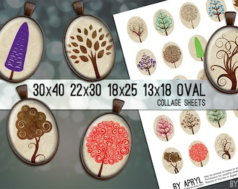 Oval Digital Collage Sheet  30x40 22x30 18x25 13x18  Trees Colorful Neutral Images for Glass and Resin Pendants Cameos Paper Craft