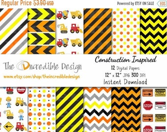ON SALE Construction Digital Paper Pack, for scrapbooking, Making Cards, Tags and Invitations / Instant Download
