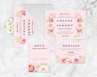Printable Wedding Invitation Set, Blush Pink Rose Watercolor Hand Drawn Wedding Invitation Set, Garden Theme Wedding Invitation Set
