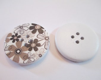 5 Black Flower Wooden Buttons Sewing Craft Supplies