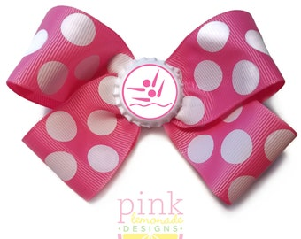 Synchronized Swimming Synchro Hair Bow in Hot Pink
