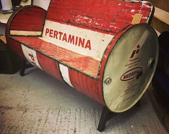 Reclaimed Oil Drum Handcrafted Metal Steel Benches