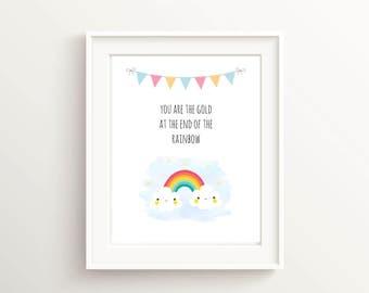 Rainbow Nursery Print Digital Download, Baby Girl Bedroom Decor, Baby Girl Print For Nursery Prints Neutral, Rainbow Baby Shower Decorations