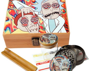 "Large Size Geometry Stash Box, 2.5"" Zinc Alloy Grinder,  Stash Jar, 6"" Rolling Tray - ALL IN ONE Box Package - Rick & Morty # LBCS020818-5"