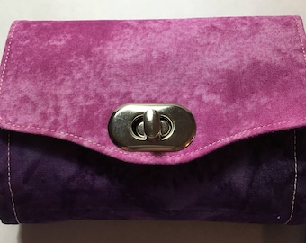 Purple and Pink Accordion Wallet with Wrist Strap