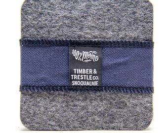 Square Merino Wool Felt Coaster Set – Light Gray – 5MM Thick