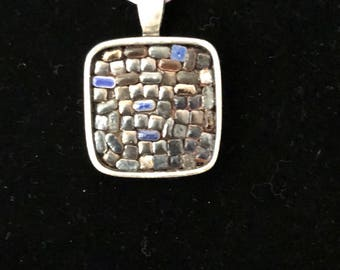 Navy Tiny Tiles Mosaic Pendant