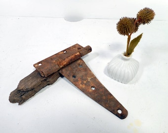 Old Barn Door Hinge, Rusty Reclaimed Hardware, Architectural Salvage, Farm House Decor, Rustic Primitive Antique
