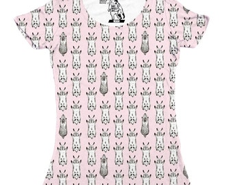 Jumping Bunnies All Over Print Womens T-Shirt, Sizes XS-2XL