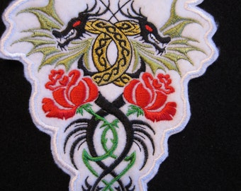 Embroidered Double Dragon Iron On Patch. Dragon Patch, Iron On Patch, Dragon And Roses Patch,  Dragon Patch