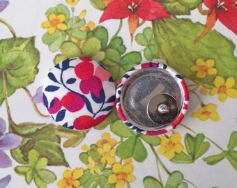 Button Earrings / Fabric Covered / Gifts for Her / Red and White / Handmade Jewelry / Wholesale Discount Available