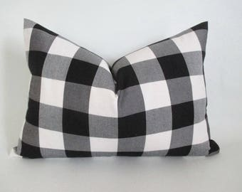 Lumbar Pillow Cover Buffalo Plaid Black and White Both Sides Zipper Opening New F/W 2017/18