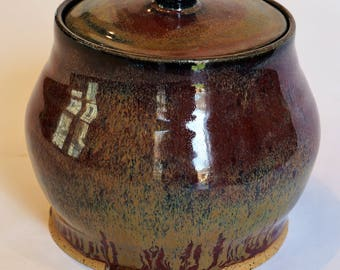 Handmade, wheel thrown lidded container