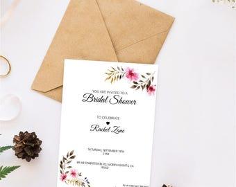 Printable Bridal Shower Invitations / Floral Shower Invites / Personalized Bridal Shower Invitations / Custom Invitations / Easy / Simple