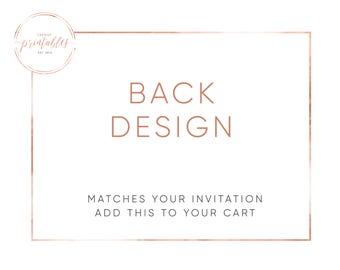 Matching Back Design, Engagement Party, Baby Shower, Bridal Shower, Wedding Invitations, Printable Invitations, Custom Invitations