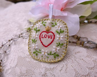 Hand-Embroidered Badge - LOVE + Violets