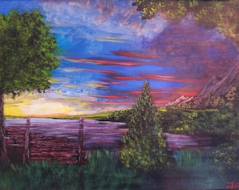 Dock On A Mountain Lake Original Acrylic Landscape Painting