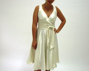 Ivory Hemp Silk Dress - eco wedding dress 'Rose'