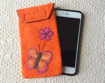 Lg size phone case, Quilted case, Large size Smart phone case, Gadget case. phone pouch, iPhone, smartphone bag,eyeglass, phone case 6P#45