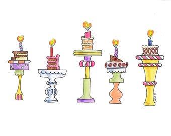 Cakes on Stands-Original Artwork Print