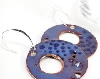 Torch enamel copper drop hoop earrings