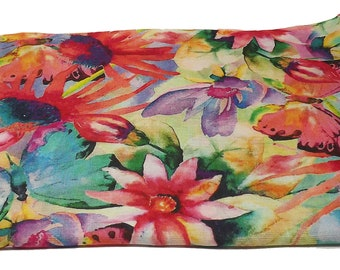 Multicolour butterfly-flower print scarf