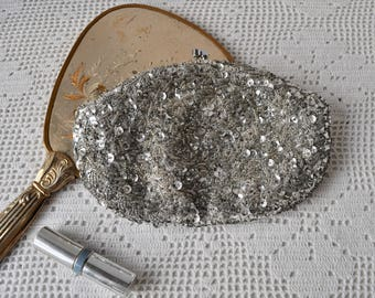 Sculptural Beaded Sequins Silver Evening Bag/Vintage 1960s/Formal Clutch With Layered Twisted 3-D Silver Beading