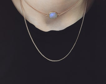 "Gold Chain Choker | Moonstone Choker Necklace ""Gigi"""