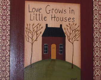 Folk Art Primitive Hand-Painted Love House Wood Plaque
