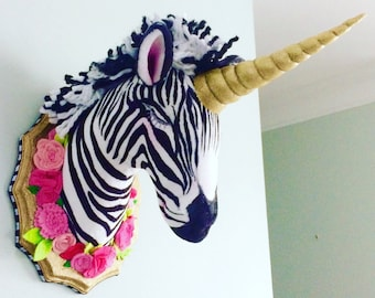 Zebra wall mount; zebracorn