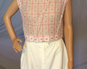 Vintage Handmade Sleeveless Midriff top, crop top, short top, see photos for measurements