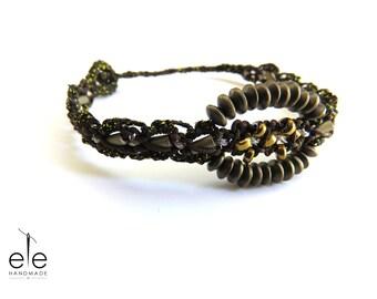 Macrame bracelet with hematite - Echo