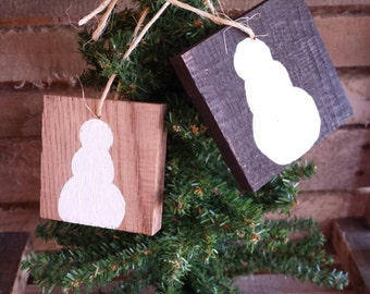 Snowman Ornament, snowman decor, primitive snowman, wooden ornament christmas, wood ornaments, rustic ornaments, farmhouse christmas