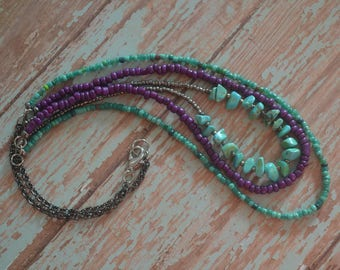 SALE!  Limited Edition ~ Teal, Purple and Turquoise Multi-strand beaded chain on Gunmetal By: Brooke Baker