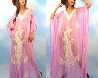 Vintage 60s 70s Sheer Lilac Silk Embroidered Caftan