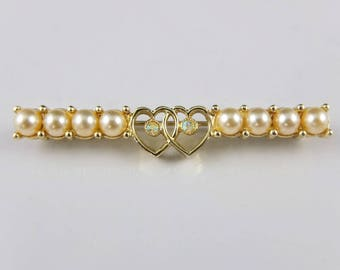 Vintage Sarah Coventry Heart Brooch - Gold Tone Brooch With Faux Pearls, Hearts And Aurora Borealis Crystals, Vintage Love Heart Brooch