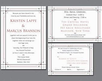 Wedding Invitation Set - Printable - Art Deco - 1920s Invitation Suite