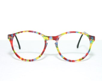 Round Eyeglasses Meitzner Germany 80's Happy Multi Colored Colorful Medium Sized Eye glasses New Old Stock FREE SHIPPING