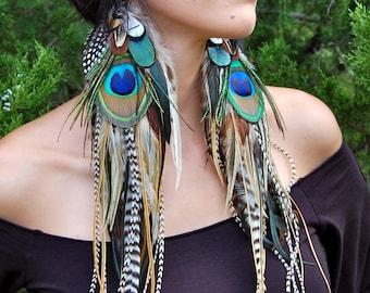 ELVEN QUEEN Long Feather Earrings