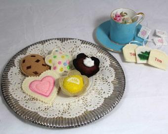 Felt Play Food Tea Party Tea Time Set 9 Pieces
