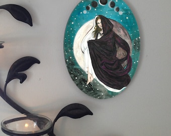 Lunar Eclipse Moon Goddess Oval Tile Wall Hanging