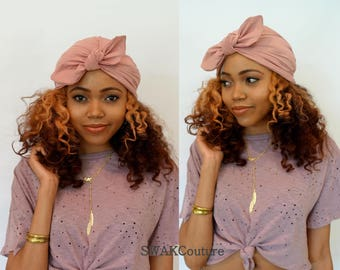 Bow Turban Hat Womens Turban Cap Stretchy Turban Cap Pink - or Choose Your Color
