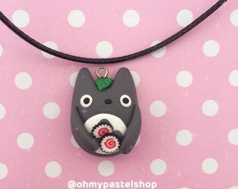 Totoro necklace - narutomaki   My neighbor Totoro, Studio Ghibli, Cute charm, kawaii, Polymer Clay jewelry