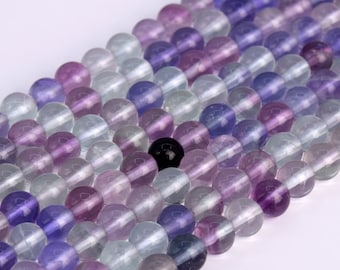 Genuine Natural Fluorite Loose Beads Round Shape 6mm